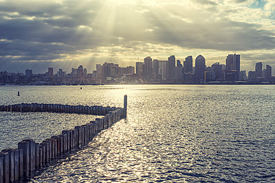 San Diego Harbor and Skyline - p1436m1492984 by Joseph S. Giacalone