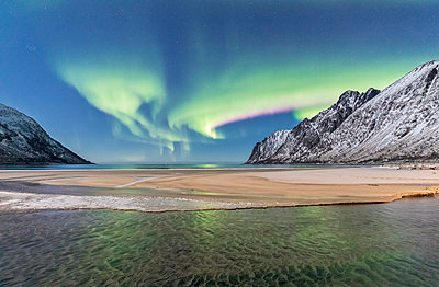 Green lights of Northern Lights (aurora borealis) reflected in the cold sea surrounded by snowy peaks, Ersfjord, Senja, Troms, Norway, Scandinavia, Europe - p871m1478712 by Roberto Moiola