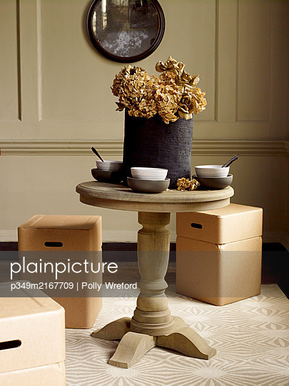 Dried hydrangea and bowls on table with box seating storage cubes - p349m2167709 by Polly Wreford