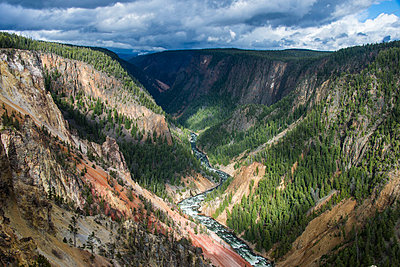 The colourful Grand Canyon of the Yellowstone, Yellowstone National Park, UNESCO World Heritage Site, Wyoming, United States of America, North America - p871m998844f by Michael Runkel