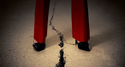 Cracked Sidewalk with Woman - p394m1119907 by Stephen Webster