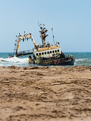 Namibia, Dorob National Park, Henties Bay, ship wreck of stranded Zeila - p300m1113645f by Martin Moxter
