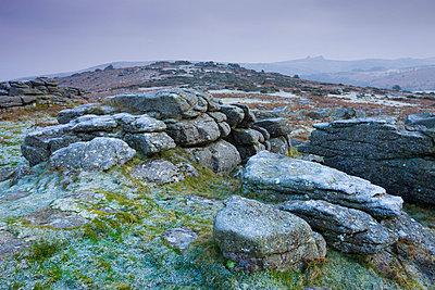 Frost covered granite rocks on the moorland at Hayne Down in Dartmoor National Park, Devon, England, United Kingdom, Europe - p8713020 by Adam Burton
