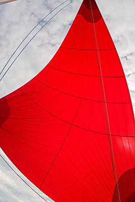 Red sail in the wind - p1150m1539905 by Elise Ortiou Campion