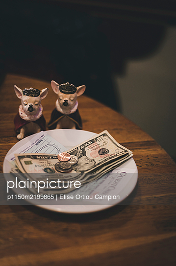 Payment in cash and two porcelain dogs on the table - p1150m2199865 by Elise Ortiou Campion