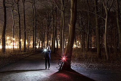 Woman at night in a park - p1222m1031203 by Jérome Gerull
