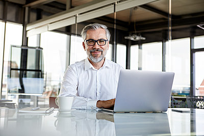 Portrait of confident businessman with laptop at desk in office - p300m2012958 by Rainer Berg