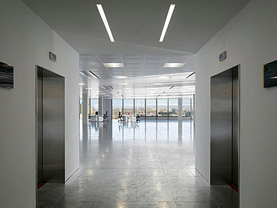 Lifts at entrance to office floor at No.1 New York Street, Manchester, Greater Manchester. - p855m713228 by Daniel Hopkinson