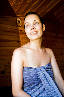 woman in a sauna - p4130640 by Tuomas Marttila