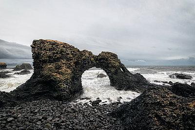 Rock formations near ocean, Hellissandur, Snaellsnes peninsula, Iceland - p555m1491150 by Patrick Lienin