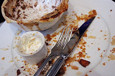 Empty plate with bowl and cutlery - p388m701815 by Astrid Schulz
