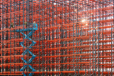 Constructing high rack storehouse - p719m1333197 by Rudi Sebastian