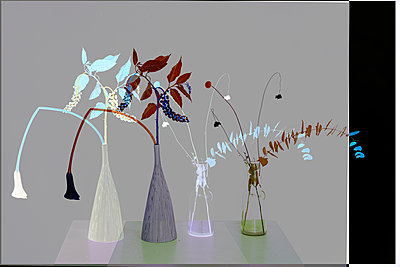 Collage, Flowers in flower vases - p1413m2278769 by Pupa Neumann