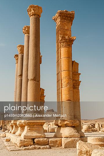 Ruinen der Badeanlage und Zitadelle der Oasenstadt und UNESCO-Weltkulturerbe Palmyra/Tadmor nahe Damaskus, Syrien - p1493m2063560 von Alexander Mertsch