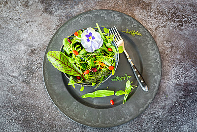 Bowl of wild-herb salad with edible flowers, cranberries and wolfberries on dinner plate - p300m1189230 by Sandra Roesch
