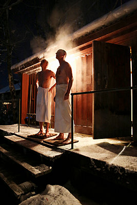 Two men after bath in sauna - p312m1338559 by Lena Granefelt