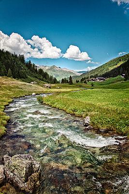 Mountain creek in Switzerland - p880m908075 by Claudia Below