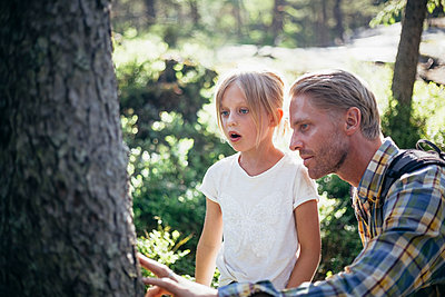 Father and daughter looking at tree trunk in forest - p426m2212149 by Maskot
