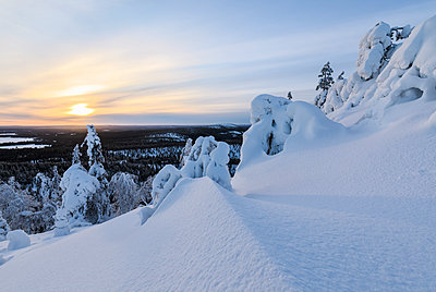The sun frames the snowy landscape and woods in the cold arctic winter, Ruka, Kuusamo, Ostrobothnia region, Lapland, Finland, Europe - p871m1448422 by Roberto Moiola