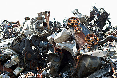 Scrap metal in a junkyard - p30110133f by Caspar Benson