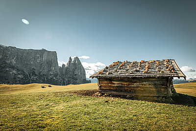 Italy, South Tyrol, Seiser Alm, barn and Schlern - p300m1228099 by Ega Birk