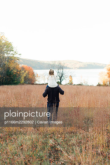 Little girl riding on dad's shoulders in fall and playing outside - p1166m2292802 by Cavan Images