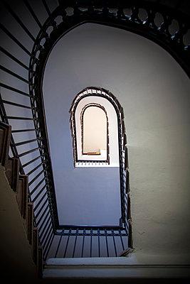 Hallway Spiraling Staircase  - p1248m2063479 by miguel sobreira