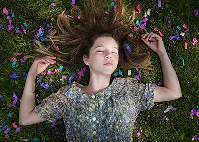 Laying in Confetti - p1503m2015971 by Deb Schwedhelm