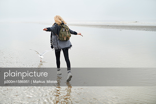Netherlands, back view of young woman with backpack walking behind a seagull on the beach - p300m1586951 von Markus Mielek