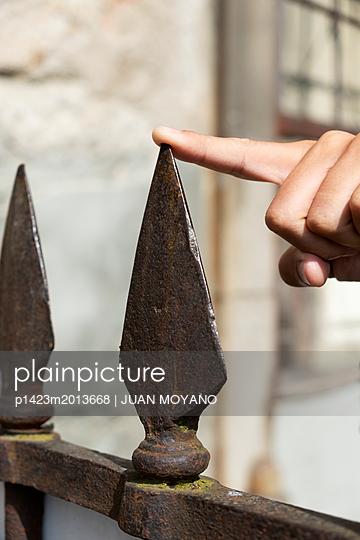Eisenzacken an einem alten Zaun - p1423m2013668 von JUAN MOYANO