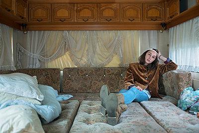 Woman in caravan - p427m939736 by Ralf Mohr