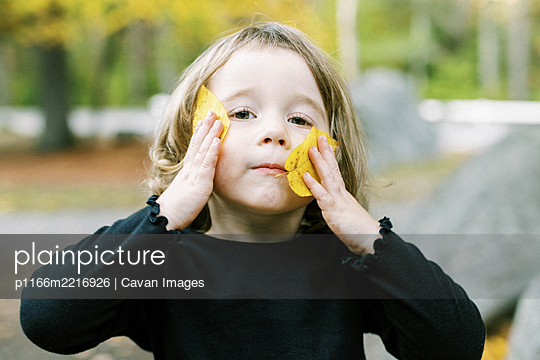 Little toddler girl playing with leaves in fall - p1166m2216926 by Cavan Images