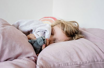 young girl sleeping in her bed cuddling her toys and blanket at home - p1166m2147380 by Cavan Images