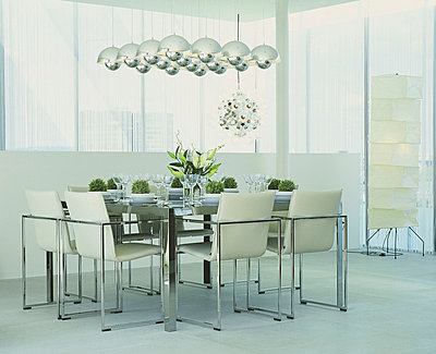 Designer dining room with set table - p2686353 by James Wadey