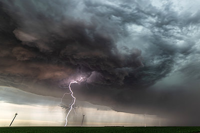Lightning during a barrage and dust storm - p924m2213488 by Jessica Moore
