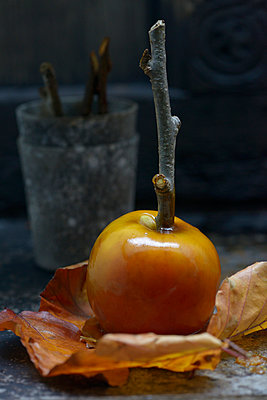 Freshly made toffee apple, close-up - p429m983138f by Diana Miller