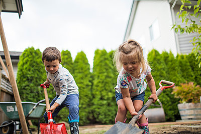 Brother and sister digging in their backyard, helping father. - p1166m2208483 by Cavan Images