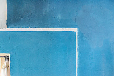 Architectural detail of blue wall - p301m1130822f by Johannes Marburg
