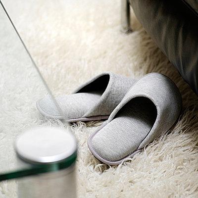 Felt slippers on flokati rug - p4736577f by STOCK4B-RF
