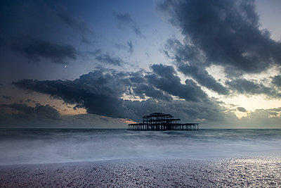 Great Britain, Brighton, Steel frame of the West Pier - p1516m2158237 by Philip Bedford