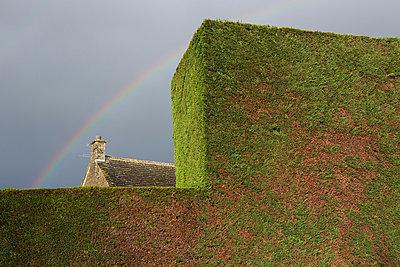 Haus und Regenbogen hinter der Hecke - p1057m881349 von Stephen Shepherd