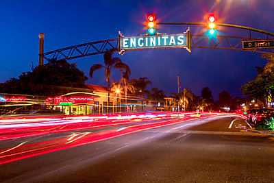 Famous Encinitas sign at night, Encinitas, California, USA - p343m1569084 by Sean Davey