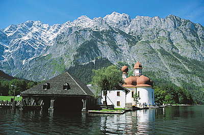 St. Bartholomew's Church and Koenigssee, Bavaria, Germany - p4736601f by STOCK4B-RF