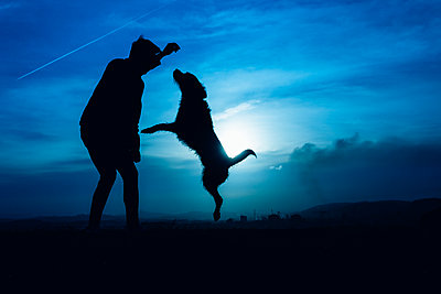 Silhouette of a young man with his dog jumping with blue night light - p1166m2191759 by Cavan Images