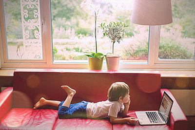 Boy using laptop on red leather sofa in living room - p1023m1446547 by Tom Merton