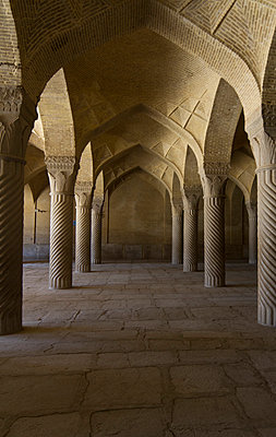 Monolithic pillars of the Shabestan (prayer hall) of the Vakil Mosque - p798m1025691 by Florian Löbermann