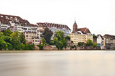 View of Basel Cathedral seen from the river - p1312m2126531 by Axel Killian