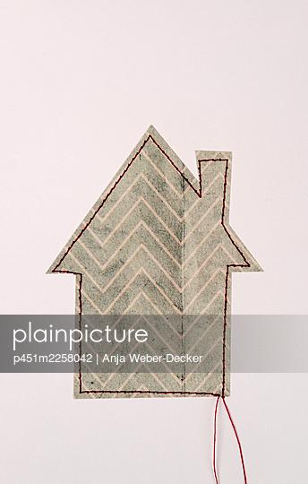 Sewed house - p451m2258042 by Anja Weber-Decker