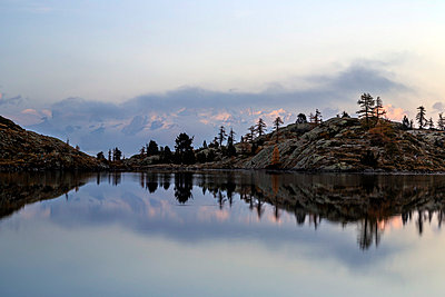Dawn on Mount Rosa seen from Lac Blanc, Natural Park of Mont Avic, Aosta Valley, Graian Alps, Italy, Europe - p871m1056724 by Roberto Moiola