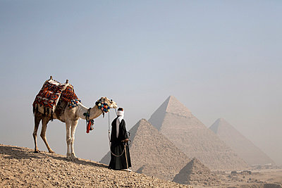 A Bedouin guide with his camel, overlooking the Pyramids of Giza, UNESCO World Heritage Site, Cairo, Egypt, North Africa, Africa - p8712736 by Andrew McConnell